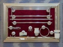 Accesorios del cuarto de baño enmarcados Imagen de archivo