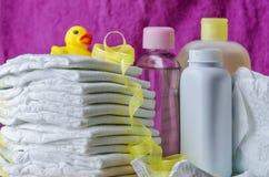 Accesorios del cuidado del bebé Imágenes de archivo libres de regalías