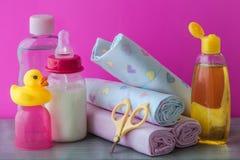 Accesorios del cuidado del bebé Fotografía de archivo