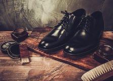Accesorios del cuidado del zapato Imagen de archivo libre de regalías