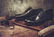 Accesorios del cuidado del zapato Fotos de archivo libres de regalías