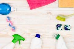 Accesorios del fondo del concepto de la limpieza Foto de archivo