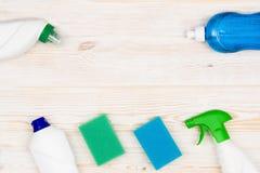 Accesorios del fondo del concepto de la limpieza Imágenes de archivo libres de regalías