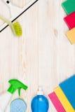 Accesorios del fondo del concepto de la limpieza Foto de archivo libre de regalías