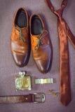 Accesorios del hombre de negocios Estilo del ` s del hombre Accesorios del ` s de los hombres Foto de archivo libre de regalías