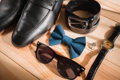 Accesorios del hombre de negocios Estilo del ` s del hombre Accesorios del ` s de los hombres: Mariposa del ` s de los hombres, z Imágenes de archivo libres de regalías