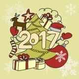Accesorios del invierno de la imagen Año Nuevo 2017 y la Navidad Fotos de archivo libres de regalías
