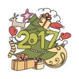 Accesorios del invierno de la imagen Año Nuevo 2017 y la Navidad Foto de archivo libre de regalías