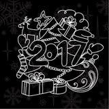 Accesorios del invierno de la imagen Año Nuevo 2017 y la Navidad Foto de archivo