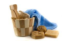 Accesorios del jabón y del baño Imágenes de archivo libres de regalías