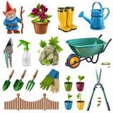 Accesorios del jardín fijados ilustración del vector