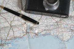 Accesorios del mapa y del viaje Foto de archivo