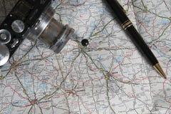 Accesorios del mapa y del viaje, Atlanta, Georgia Fotografía de archivo