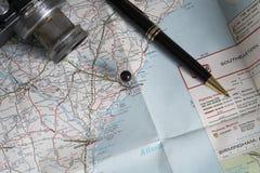 Accesorios del mapa y del viaje, Charleston, Carolina del Sur Foto de archivo