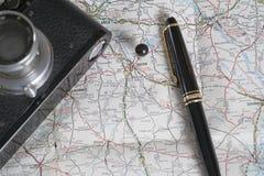 Accesorios del mapa y del viaje, Macon, Georgia Imagenes de archivo