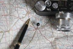 Accesorios del mapa y del viaje, Montgomery, Alabama Fotos de archivo
