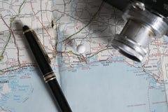 Accesorios del mapa y del viaje, Pensacola, la Florida Imágenes de archivo libres de regalías