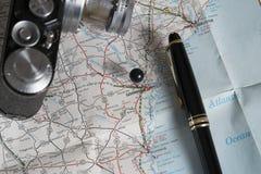 Accesorios del mapa y del viaje, sabana Georgia Imágenes de archivo libres de regalías