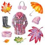 Accesorios del otoño de la acuarela Imagenes de archivo