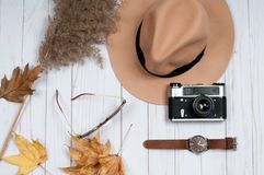 Accesorios del otoño para las mujeres con las hojas de la caída Imagen de archivo libre de regalías