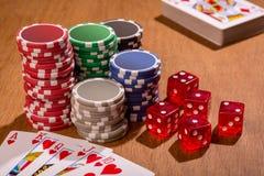 Accesorios del póker Fotografía de archivo libre de regalías
