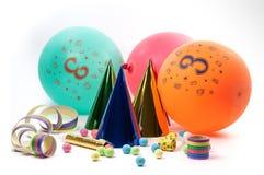Accesorios del partido para la fiesta de cumpleaños Fotos de archivo