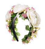 Accesorios del pelo Aro de las flores artificiales Belleza y moda Aislado en blanco Imagen de archivo libre de regalías
