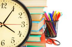Accesorios del reloj y de la escuela Imagen de archivo