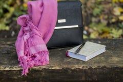 Accesorios del ` s de las mujeres - bolso, pañuelo para el cuello y noteboo negros de cuero Fotografía de archivo libre de regalías