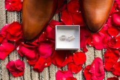 Accesorios del ` s del hombre de la boda en los pétalos color de rosa rojos Imágenes de archivo libres de regalías