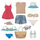 Accesorios del traje de baño y de la playa aislados Imágenes de archivo libres de regalías