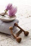 Accesorios del tratamiento del balneario con las flores de la primavera Foto de archivo