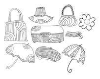 Accesorios del vector del bosquejo fijados Fotografía de archivo libre de regalías