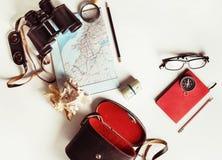 Accesorios del viaje, artículos Fotos de archivo libres de regalías