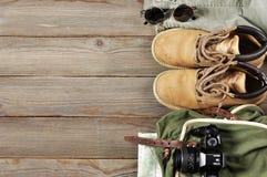 Accesorios del viaje fijados Fotos de archivo libres de regalías