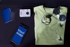 Accesorios del viajero Imagen de archivo libre de regalías
