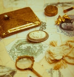 Accesorios del vintage en sepia Foto de archivo
