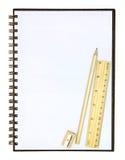 Accesorios en blanco del cuaderno y de la escuela Fotografía de archivo libre de regalías