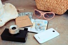 Accesorios en el viaje Imágenes de archivo libres de regalías