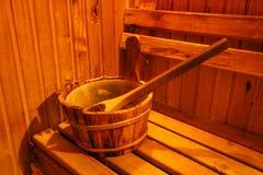 Accesorios en sitio de la sauna Imagenes de archivo