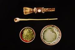 Accesorios especiales para el té del matcha Foto de archivo