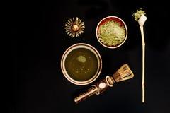 Accesorios especiales para el té del matcha Fotos de archivo libres de regalías