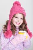 Accesorios felices del invierno del niño Fotos de archivo