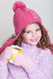 Accesorios felices del invierno del niño Imagenes de archivo