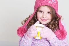 Accesorios felices del invierno del niño Fotografía de archivo