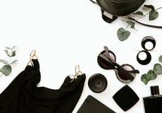 Accesorios femeninos Endecha plana del esencial Foto de archivo
