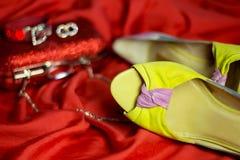 Accesorios hermosos y zapatos de tacón alto y un embrague rojo en el vestido de noche Fotografía de archivo