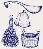 Accesorios listos de la sauna - escoba, cubo, sombrero y cucharada Imagen de archivo
