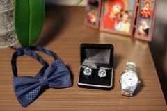 Accesorios masculinos de la boda Foto de archivo libre de regalías