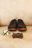 Accesorios masculinos de la boda, detalles de la ropa Fotos de archivo libres de regalías